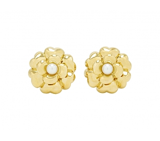 Chanel Camellia Pearl Earrings in 18K Gold
