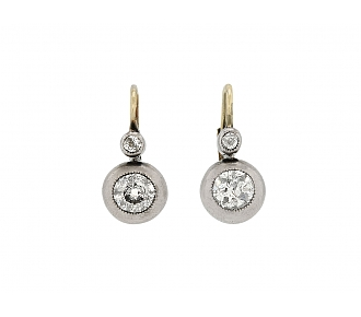 Antique Victorian Diamond Earrings Silver Over Gold