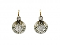 Antique Rose-Cut Diamond Earrings Silver over Gold