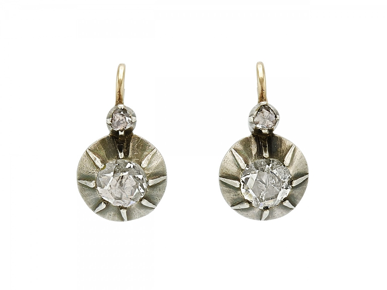 Video of Antique Rose-Cut Diamond Earrings Silver over Gold