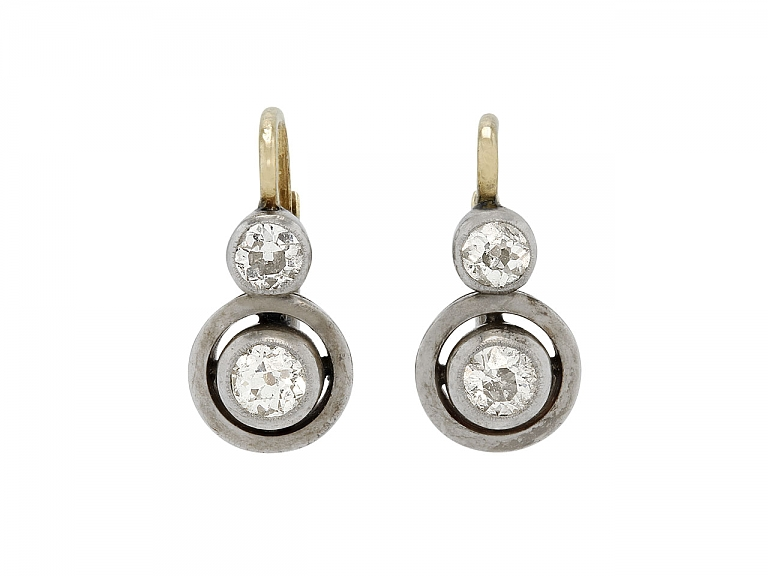 Video of Antique Victorian Old Mine-cut Diamond Earrings in Silver and 14K