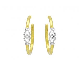 Rhonda Faber Green Diamond Double-Heart Hoop Earrings in 22K Gold, Large