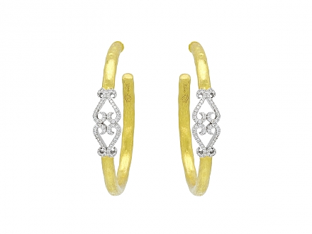 Rhonda Faber Green Diamond Double-Heart Hoop Earrings in 22K Gold, Large