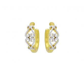 Rhonda Faber Green Diamond Double-Heart Hoop Earrings in 22K Gold, Small