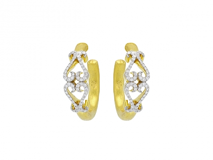 Rhonda Faber Green Diamond Double-Heart Hoop Earrings in 22K Gold, Small
