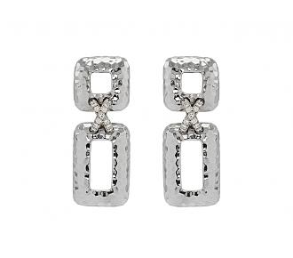 Diamond Earrings in Hammered 18K White Gold