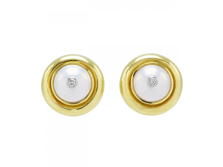 Video of Tiffany & Co. Paloma Picasso Mabe Pearl and Diamond Earrings in 18K Gold