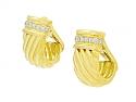 Tallarico Diamond Half-Hoop Earrings in 18K Gold