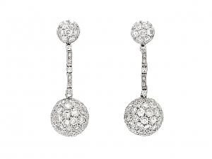 Diamond Ball Drop Earrings in Platinum