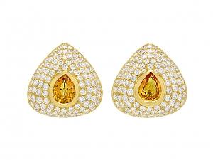 Diamond and Precious Topaz Earrings in 18K Gold