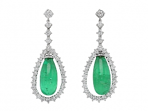 Emerald and Diamond Drops for Earrings in Platinum
