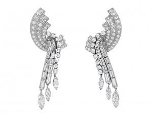 Mid-Century Diamond Dangle Earrings in Platinum