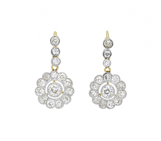Edwardian Diamond Flower Earrings in Platinum and 18K Gold