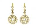 Edwardian Diamond Flower Earrings in Platinum and 18K Gold