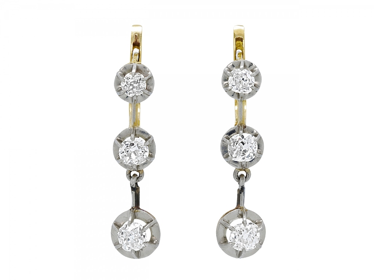 Video of Antique Edwardian Diamond Line Earrings in Platinum over Gold