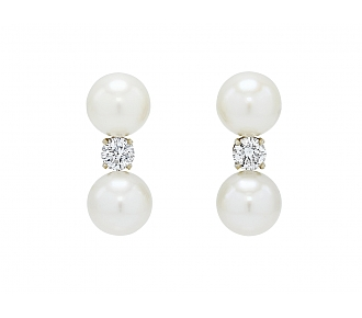 Cultured Pearl and Diamond Earrings in 14K White Gold