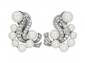 Cultured Pearl and Diamond Earrings in 14K
