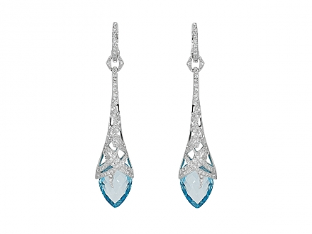 Stephen Webster Diamond and Blue Topaz Drop Earrings in 18K White Gold