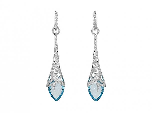Stephen Webster Diamond and Blue Topaz Drop Earrings in 18K White Gold
