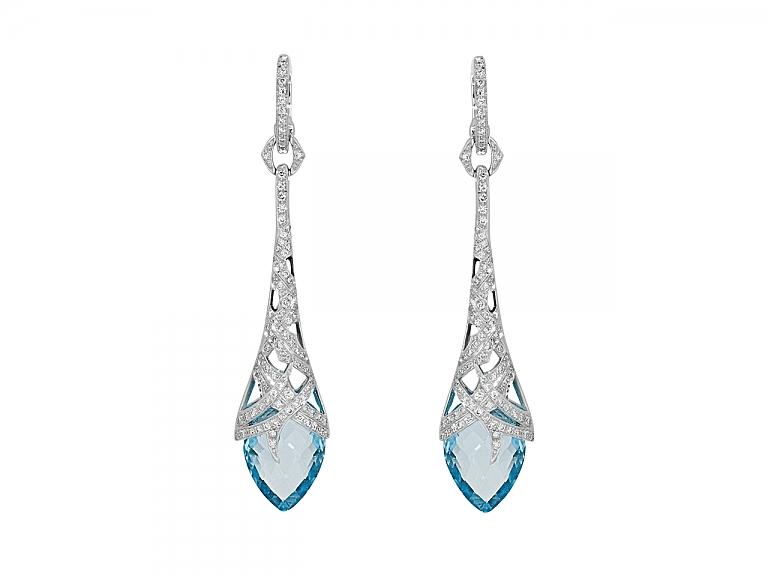 Video of Stephen Webster Diamond and Blue Topaz Drop Earrings in 18K White Gold