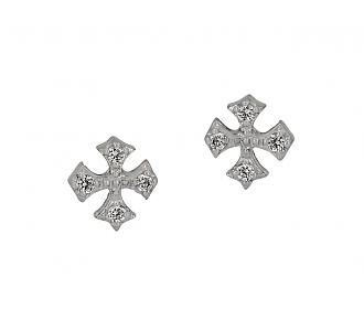 Rhonda Faber Green Diamond Cross Stud Earrings in 18K White Gold