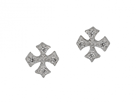 Rhonda Faber Green Diamond Cross Stud Earrings in 18K White Gold