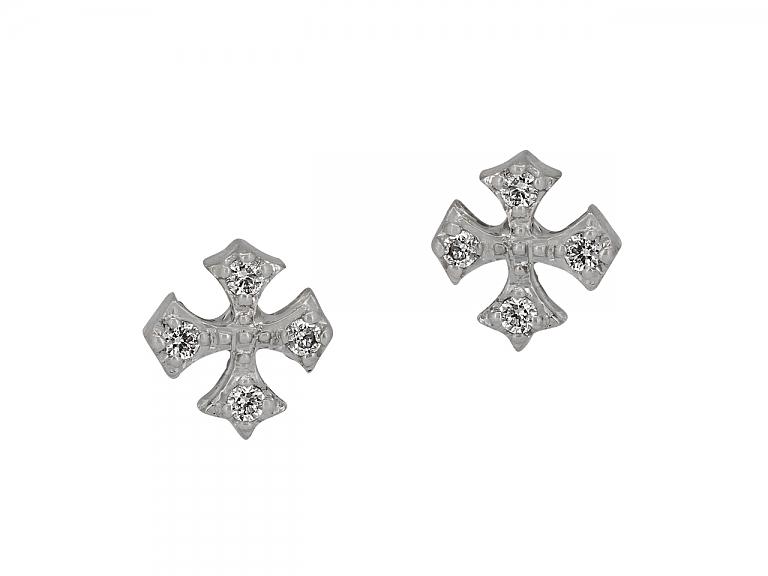 Video of Rhonda Faber Green Diamond Cross Stud Earrings in 18K White Gold