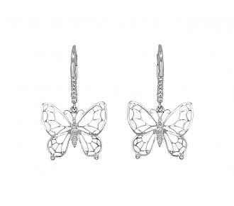 Rhonda Faber Green Diamond Butterfly Earrings in 18K White Gold
