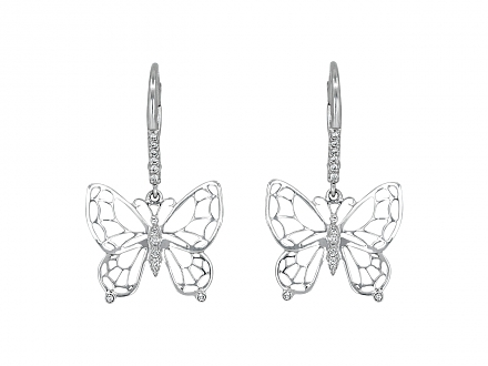 Rhonda Faber Green Diamond Butterfly Earrings in 18K White Gold