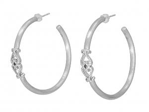Rhonda Faber Green Diamond Double Heart Earrings in 18K White Gold