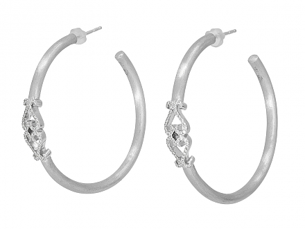 Rhonda Faber Green Diamond Double Heart Earrings in 18K White Gold