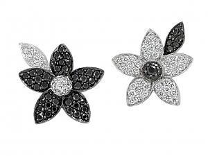 Rhonda Faber Green Black and White Diamond Flower Stud Earrrings in 18K White Gold