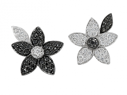 Rhonda Faber Green Black and White Diamond Flower Stud Earrrings in 18K White Gold