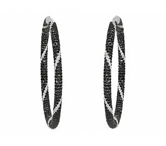 Black and White Diamond Hoop Earrings in 18K Gold