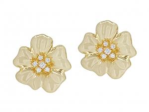 Tallarico Diamond Flower Earrings in 18K Gold