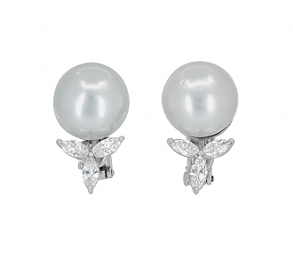 South Sea Pearl and Diamond Earrings in 18K White Gold