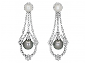 Diamond and Pearl Earrings in 18K