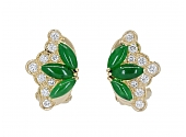 Jade and Diamond Earrings in 18K Gold