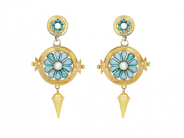 Antique Victorian Gold Turquoise Pearl Earrings in 14K Gold