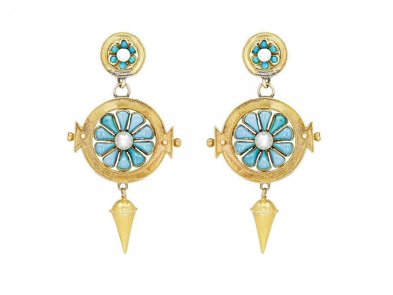 Video of Antique Victorian Gold Turquoise Pearl Earrings in 14K Gold