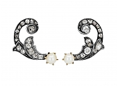 Antique Belle Epoque Diamond Earclips in Silver Over Gold