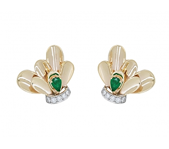 Limoges Emerald and Diamond Earclips in 14K Gold