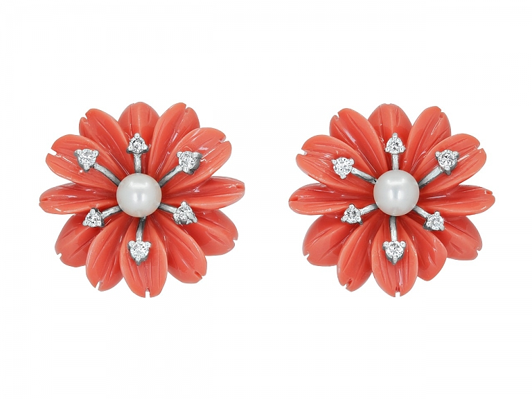 Video of Coral-colored Composite Earrings with Pearl and Diamond in 18K White Gold
