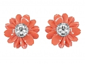 Coral-colored Composite Earrings with Pearl and Diamond in 18K White Gold