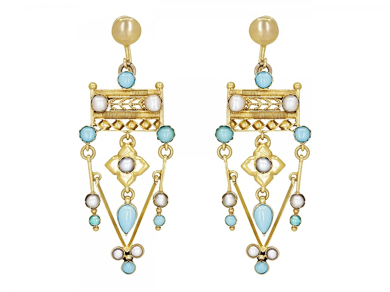 Video of Antique Victorian Turquoise and Split Pearl Earrings in Low Karat Gold