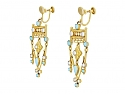 Antique Victorian Turquoise and Split Pearl Earrings in Low Karat Gold