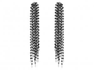 Black Diamond Fringe Earrings in 18K White Gold