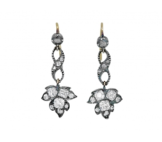 Antique Georgian Diamond Earrings in Silver over Gold