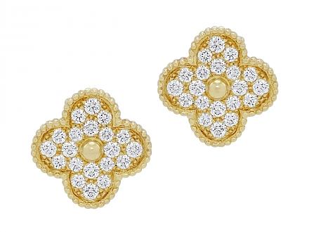 Van Cleef & Arpels 'Magic Alhambra' Diamond Earrings in 18K Gold