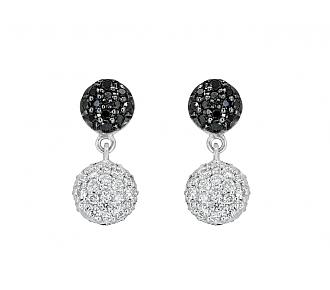 Rhonda Faber Green Small 'Diamond Dot' Earrings in 18K White Gold